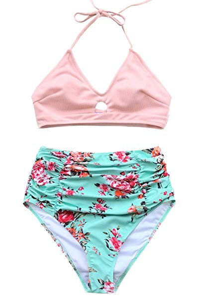 Pink Floral Two Piece Swimsuit