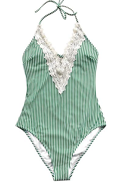 Green Striped Vintage Swimsuit