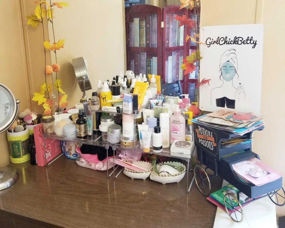 My skincare storage + the new GirlChickBetty logo w/ Smart Sign